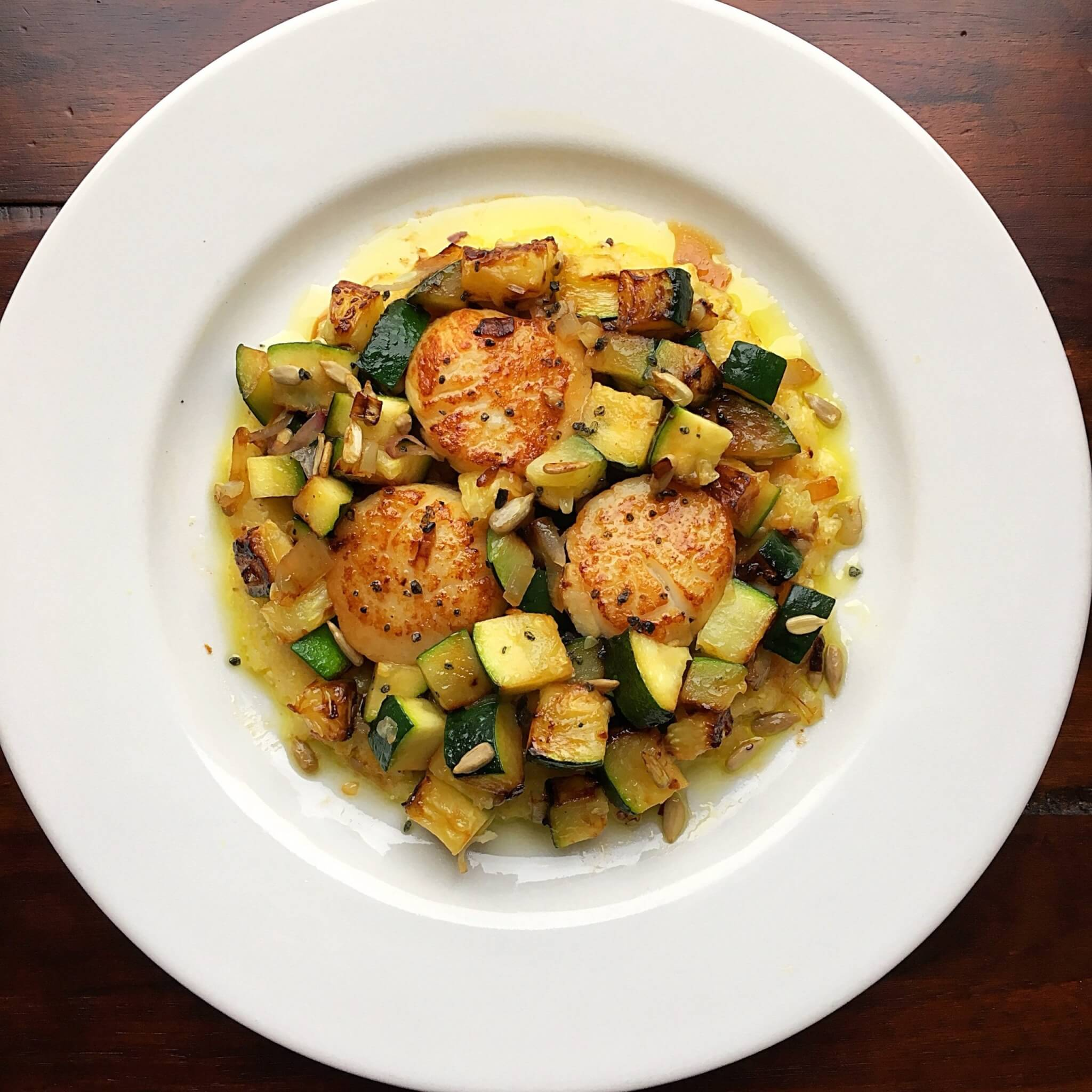 Scallops and Zucchini Dinner Plate