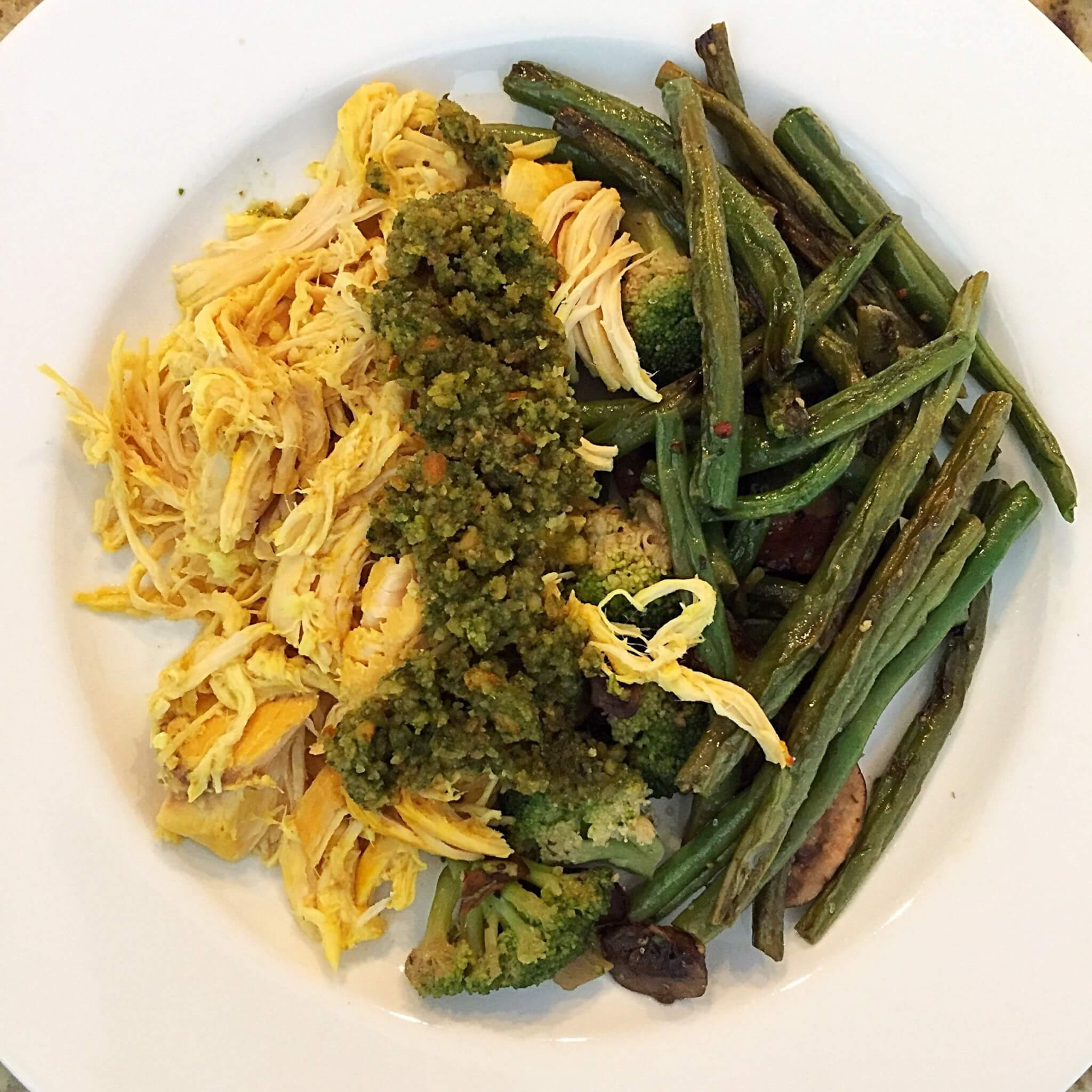 Turmeric Shredded Chicken with Pesto and green beans