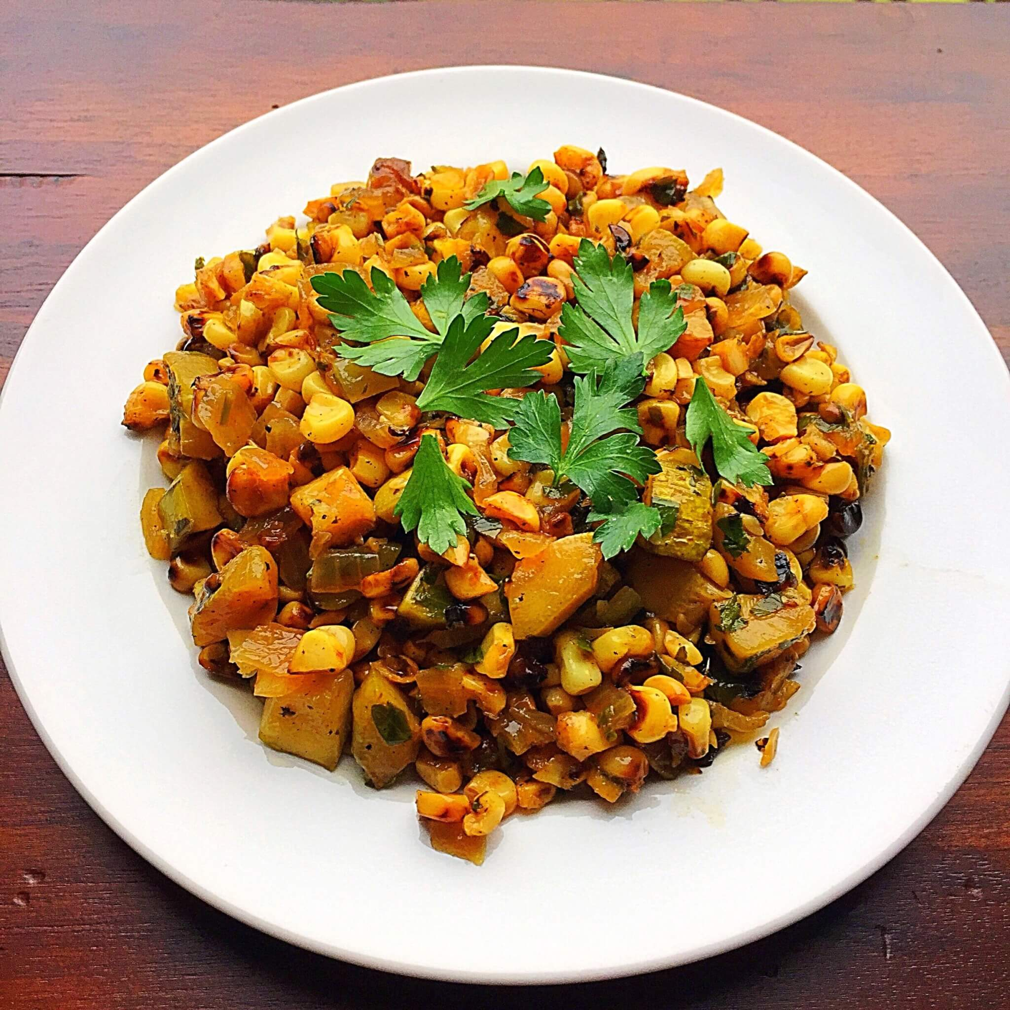 Stovetop Grilled Corn with squash