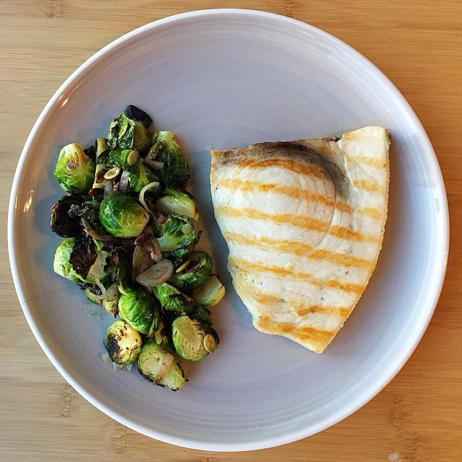 Swordfish with Brussels Sprouts