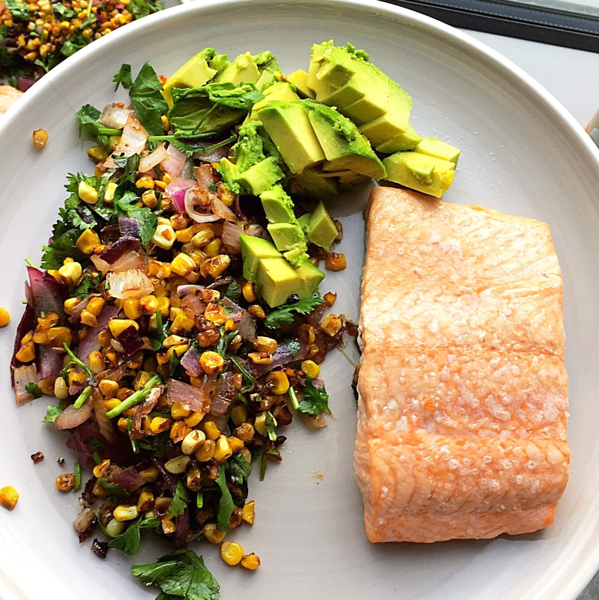 Salmon with Avocado, Corn and Red Onion